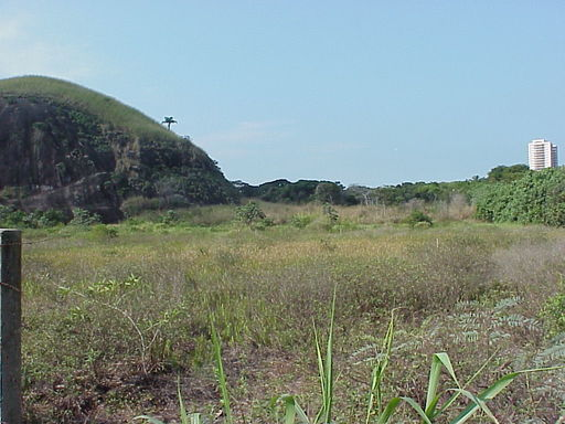 Pedra de Itaúna antes da intervenção. Detalhe para o topo, com cobertura quase totalmente de capim.